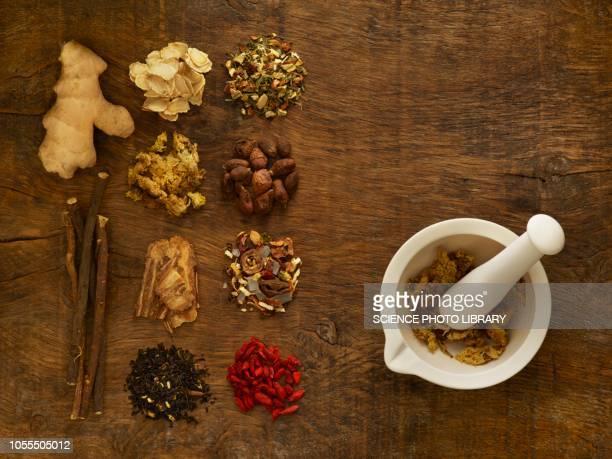 herbs and equipment used for alternative medicine - 薬草 ストックフォトと画像