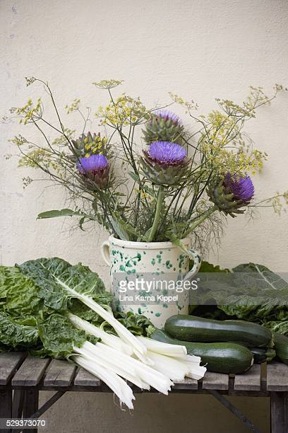 herbs and flowers in vase with different vegetables - oresund region stock photos and pictures