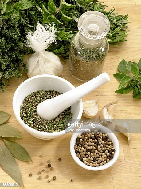 herbs and spices with mortar and pestle - sachet stock pictures, royalty-free photos & images