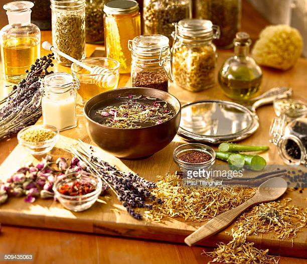 Herbs, honey,essential oils