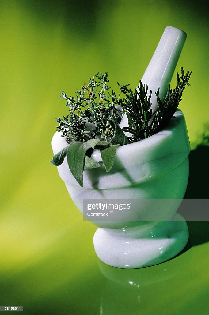 Herbs in mortar with pestle : Stockfoto