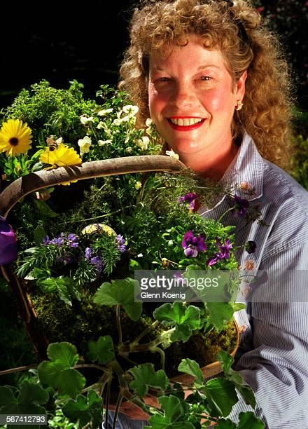 Herbs.Diane.0324.GK–Diane Weber, ÒThe Kitchen GardnerÓ with a selection of herbs, at RogerÕs Gardens, Newport Beach. Reporter: