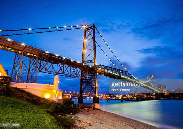 Hercilio Luz Bridge in Florianopolis the capital city of Santa Catarina State in southern Brazil the first bridge constructed to link the Island of...