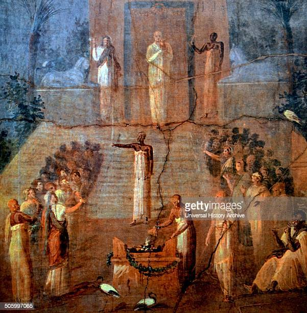Herculaneum fresco depicting a cereomny in the sanctuary of Isis. Dated 2nd Century B.C.