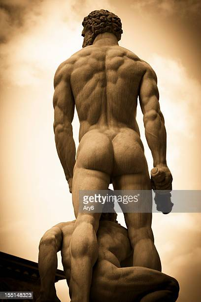 hercules and caco statue in florence - beautiful bums stock pictures, royalty-free photos & images