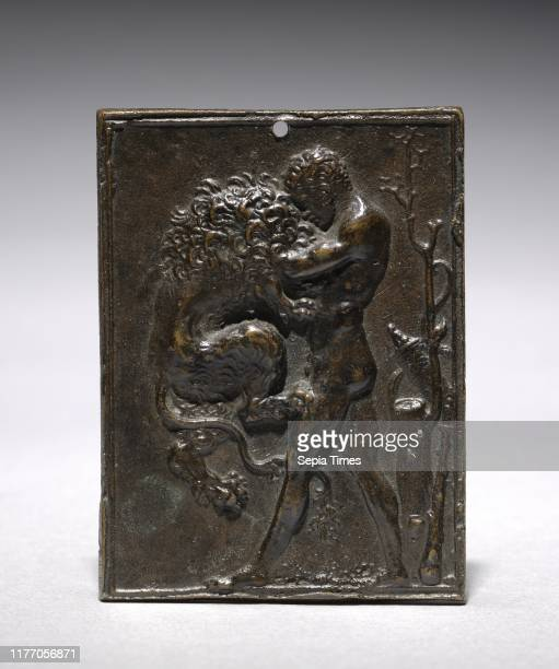 Hercules and the Nemean Lion, 16th century. Moderno . Bronze; overall: 7.6 x 5.7 cm .