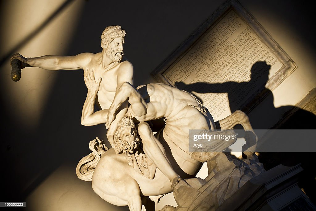 Hercules beating the Centaur Nessus in Florence : Stock Photo