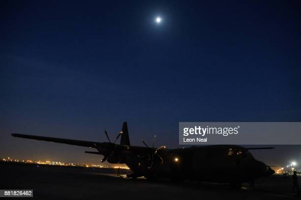 Hercules C130 J Model aircraft waits on the runway on November 29 2017 in Baghdad Iraq Theresa May has made a surprise visit to Iraq during a planned...