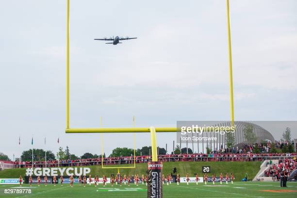 Hercules flies over the field before Canadian Football League action between Edmonton Eskimos and Ottawa RedBlacks on August 10 2017 at TD Place...