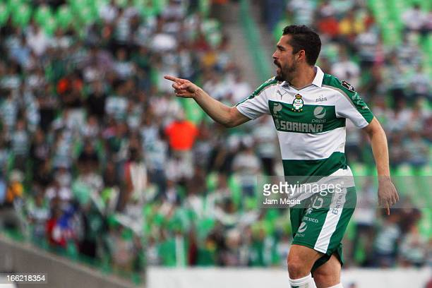 Hercules Gomez of Santos celebrates a goal against Seattle Sounders during the CONCACAF Champions League 2013 at Corona Stadium on April 09 2013 in...