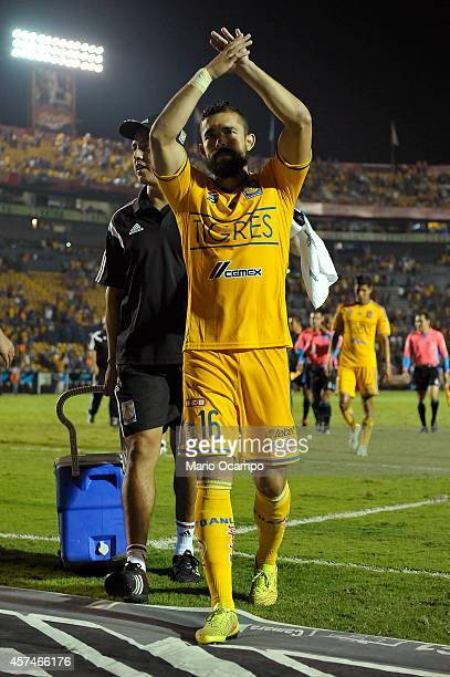 Hercules Gomez of Tigres gets off of the field at the end of a match between Tigres UANL and Cruz Azul as part of 13th round Apertura 2014 Liga MX at...