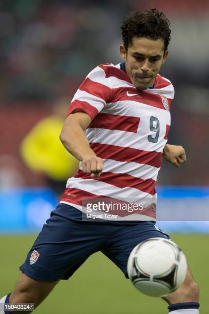 Hercules Gomez of United States heads the ball during a FIFA friendly match between Mexico and US at Azteca Stadium on August 15 2012 in Mexico City...