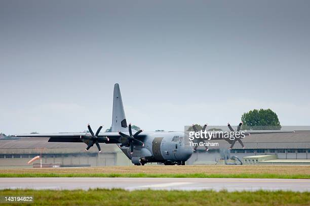 Hercules Lockheed Martin C130 Hercules C4/C5 4engine turboprop military transport aircraft at RAF Brize Norton Air Base UK
