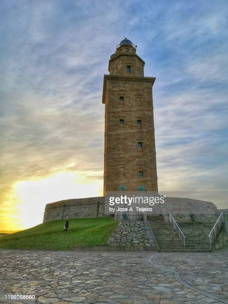 hercules tower sunset - a coruna stock pictures, royalty-free photos & images