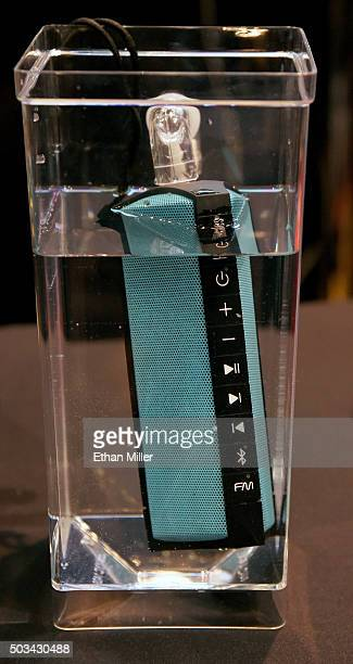 Hercules WAE nickelplated Bluetooth speaker is displayed in water during a press event for CES 2016 at the Mandalay Bay Convention Center on January...