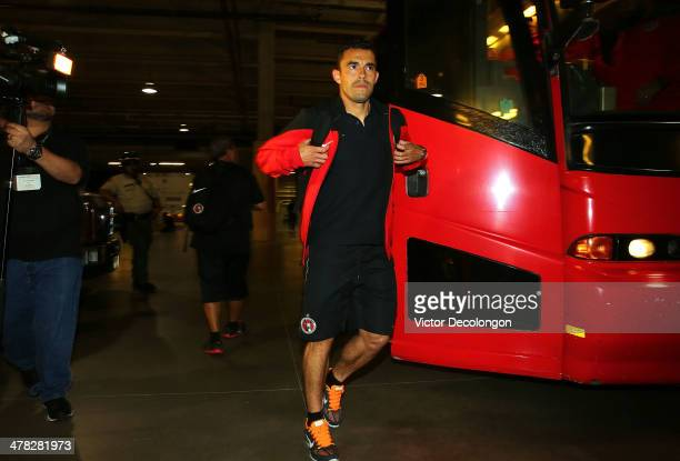 Herculez Gomez of Club Tijuana arrives at StubHub Center for the CONCACAF Champions League Quarterfinal match against the Los Angeles Galaxy on March...