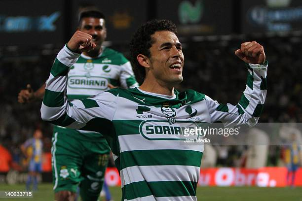 Herculez Gomez of Santos celebrates a scored goal against San Luis during a match as part of the Clausura Tournament 2012 at Corona Stadium on March...