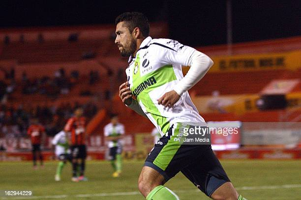 Herculez Gomez of Santos celebrates score a gola againts Jaguares during the Clausura 2013 Liga MX at Victor Manuel Reyna Stadium on march 1 2013 in...