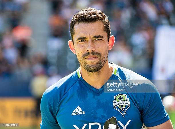 Herculez Gomez of Seattle Sounders prior to the Los Angeles Galaxy's MLS match against Seattle Sounders at the StubHub Center on September 25 2016 in...