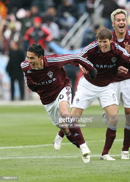 Herculez Gomez of the Colorado Rapids celebrates his goal against DC United during the MLS game on April 7 2007 at Dick's Sporting Goods Park in...