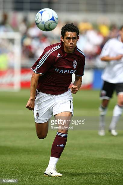 Herculez Gomez of the Colorado Rapids controls the ball against DC United during the MLS game on May 4 2008 at Dicks Sporting Goods Park in Commerce...