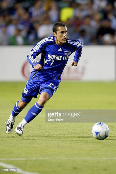 Herculez Gomez of the Kansas City Wizards dribbles the ball against Toronto FC during the game at Community America Ballpark on September 20 2008 in...