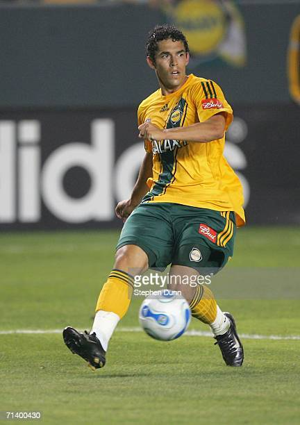 Herculez Gomez of the Los Angeles Galaxy passes the ball against Real Salt Lake on July 8, 2006 at the Home Depot Center in Carson, California. The...