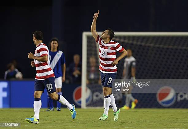 Herculez Gomez of the USA celebrates after scoring a goal against Guatemala in the first half at Qualcomm Stadium on July 5 2013 in San Diego...