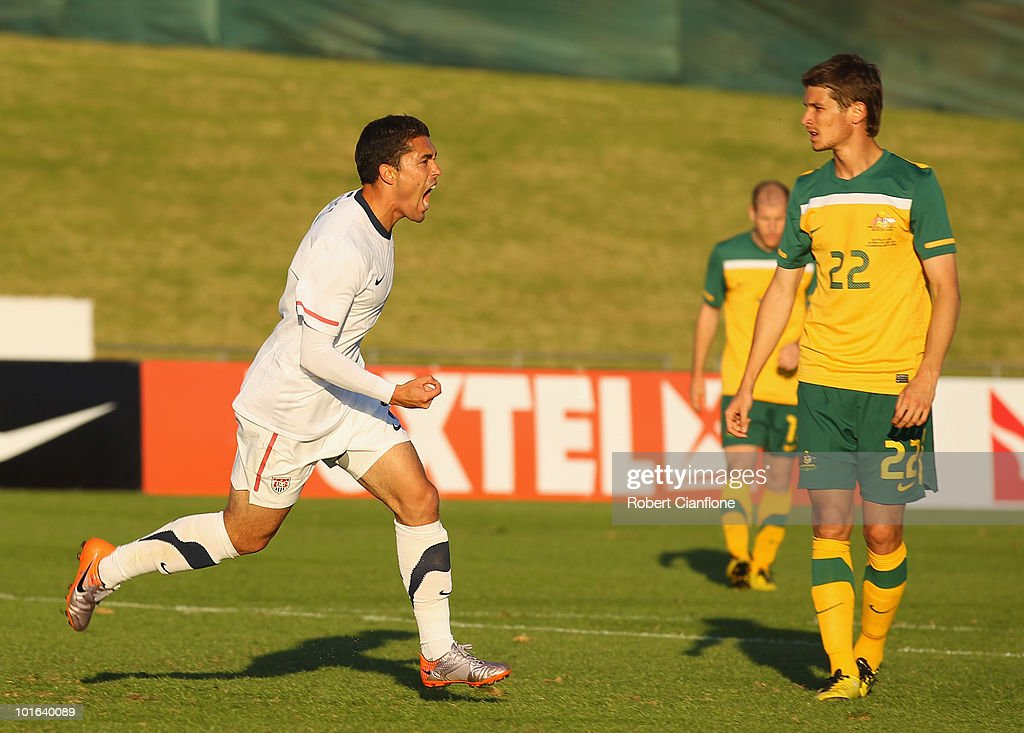 Herculez Gomez of the USA celebrates scoring his goal during the International Friendly between the Australian Socceroos and the USA at Ruimsig Stadium on June 5, 2010 in Roodepoort, South Africa.