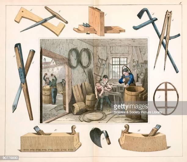 Here a cooper and his apprentices are making barrels A plate from �Twintig plaaten voorstellende de werkplaatsen benevens de voornaamste werktuigen...
