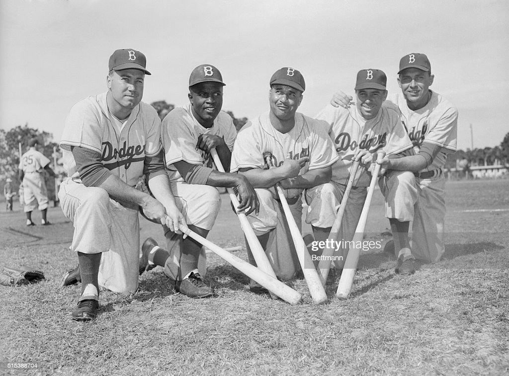 Dodgers Teammates Posing with Baseball Bats : News Photo