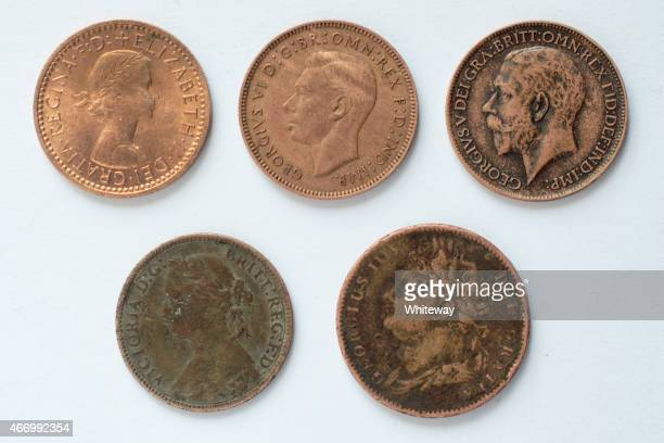 five british farthing coins obverse 19th and 20th century - george iv of the united kingdom stock photos and pictures