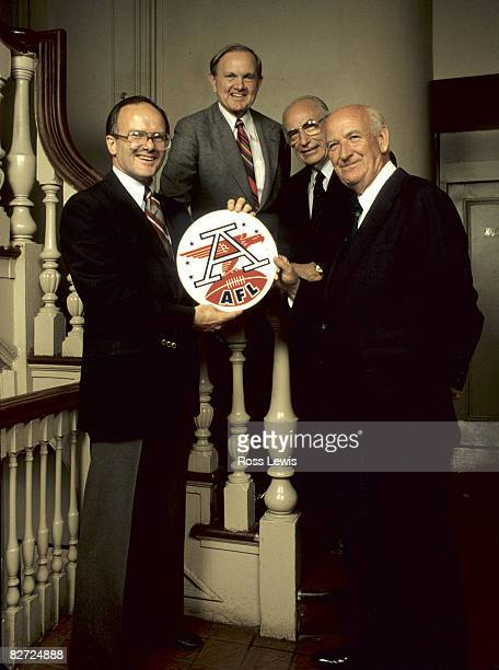 Here are four of the first eight owners of the original American Football League Clockwise Lamar Hunt Ralph Wilson Jr Wayne Valley and William R...