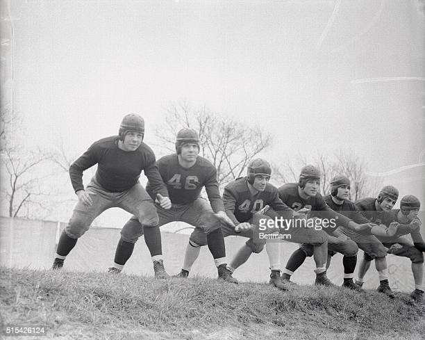 Here are the seven blocks of granite which make up the unpassable line of Fordham's unbeaten football team Hardhitting and hardholding these boys...