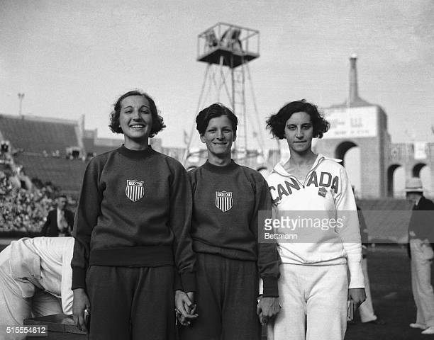 Here are the winners of the Olympic high jump for women after the final of their event in the Los Angeles Stadium. Left to right: Jean Shiley of U.S....
