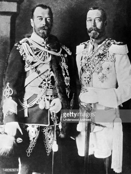 Here are two cousins Czar Nicholas II of Russia at left wearing an English uniform and King George V of England in Russian regimentals England circa...