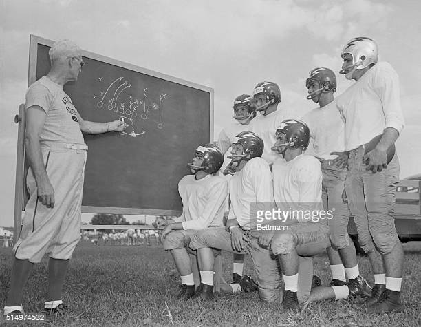 Here comes the Air Force...The first United States Air Force Academy football squad crashes through a sign mounted on goalposts for opening day of...