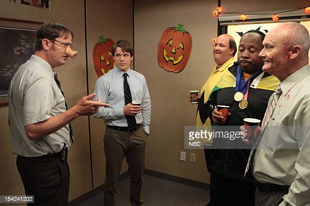 THE OFFICE Here Comes Treble Episode 906 Pictured Rainn Wilson as Dwight Schrute Jake Lacy as Pete Brian Baumgartner as Kevin Malone Leslie David...