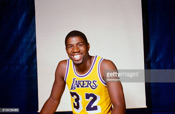 Here is a closeup of Los Angeles Lakers guard Earvin Magic Johnson