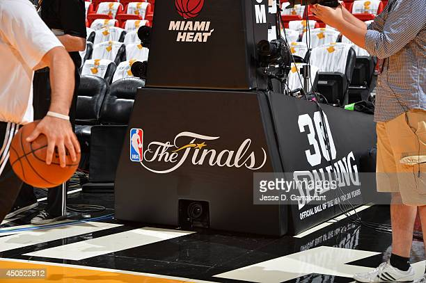 Here is a closeup of the Finals logo where the Miami Heat against the San Antonio Spurs during Game Six of the 2014 NBA Finals on June 12 2014 at...