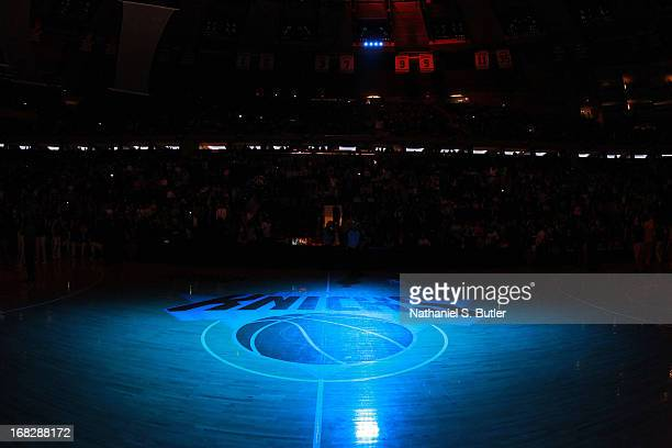 Here is a closeup view of the New York Knicks logo prior to the game against the Indiana Pacers in Game Two of the Eastern Conference Semifinals...