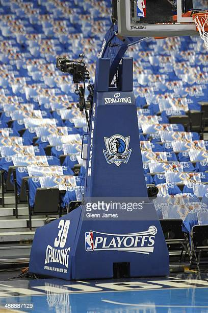 Here is a Dallas Mavericks Playoff logo prior to the game against the San Antonio Spurs during Game Three of the Western Conference Quarterfinals...