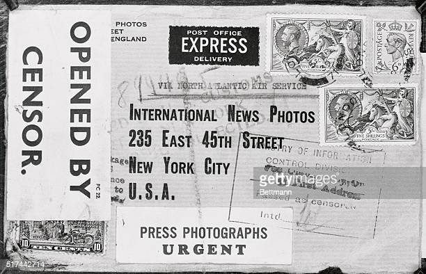 Here is a facsimile of an envelope containing news photographs addressed to International News Photos showing the extent of censorship as it exists...