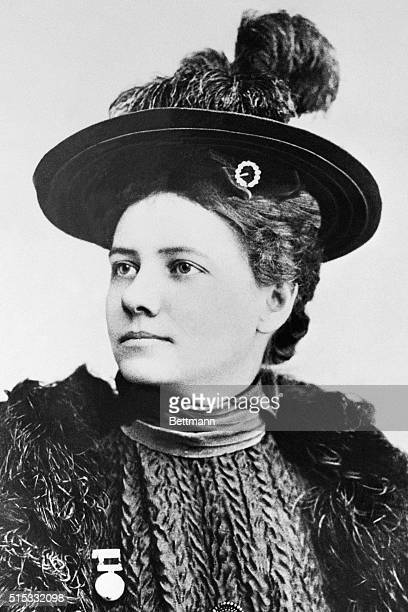 Here is a formal portrait of Nellie Bly an American journalist and around the world traveler
