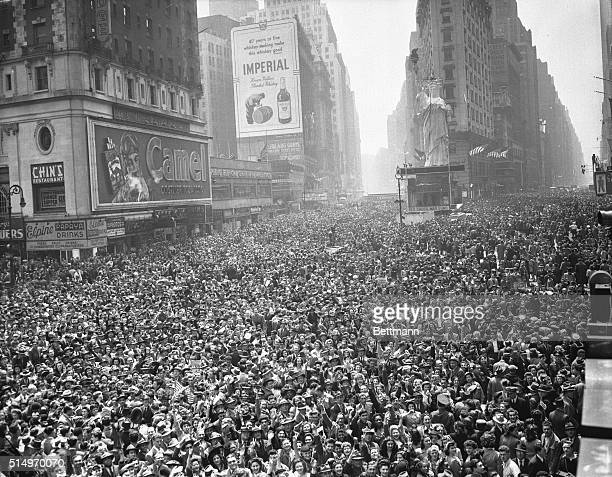 Here is a general view of New York's Times Square sometimes called the crossroads of the world at noon on May 7th showing the surging crowds that...