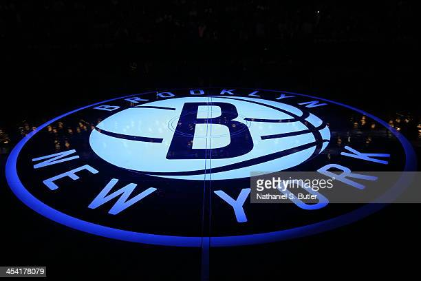 Here is a photograph of the Brooklyn Nets logo against the Utah Jazz during a game at Barclays Center on November 5 2013 in the Brooklyn borough of...