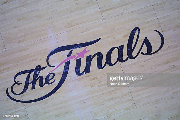 Here is a photograph of 'The Finals' logo during Game Two of the 2013 NBA Finals on June 9 2013 at American Airlines Arena in Miami Florida NOTE TO...