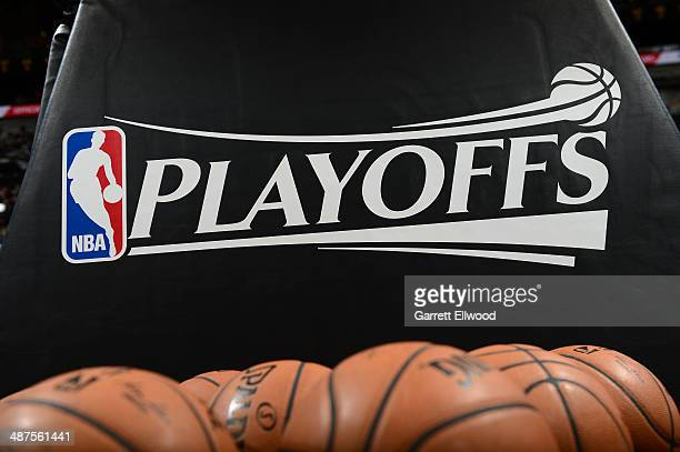 Here is a photograph of the NBA Playoff logo with a bunch of Basketballs Where the Dallas Mavericks took on the San Antonio Spurs in Game Five of the...