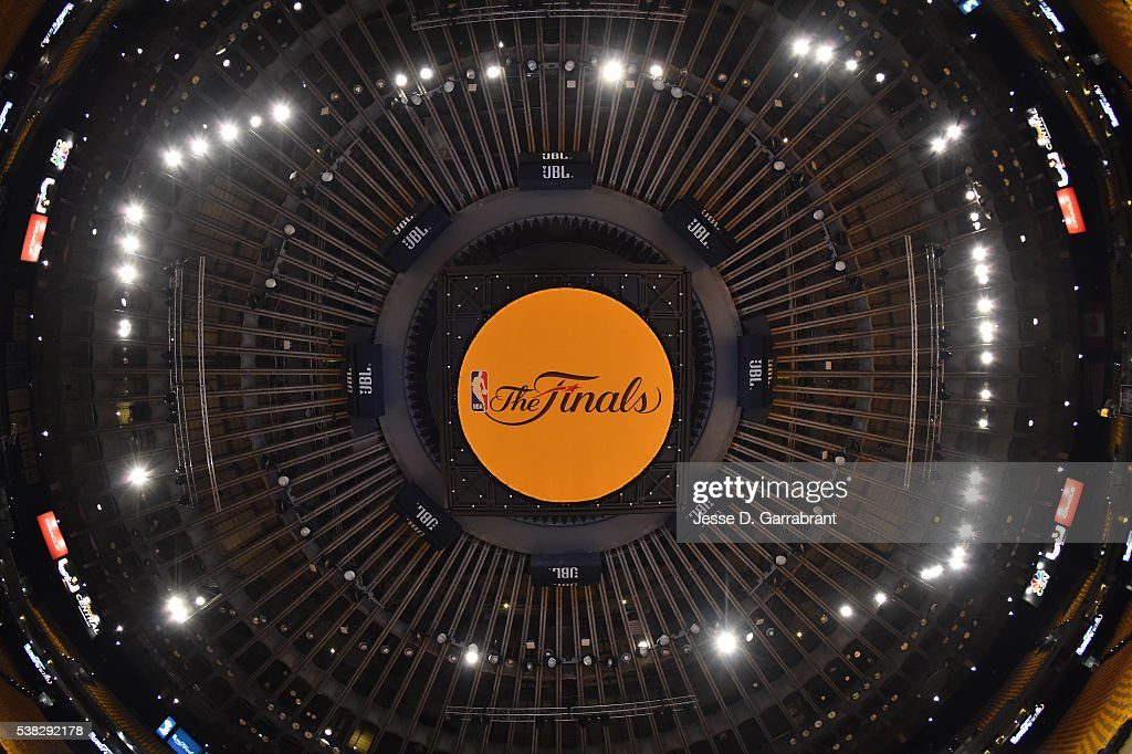 Here is a photograph of the Oracle center prior to the Cleveland Cavaliers against the Golden State Warriors during the 2016 NBA Finals Game Two on June 5, 2016 at ORACLE Arena in Oakland, California.