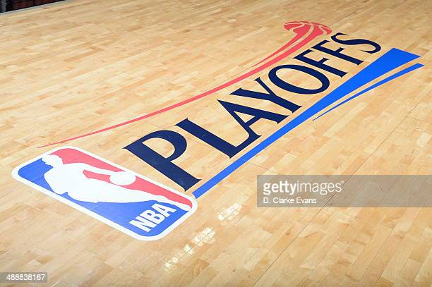 Here is a photograph of the playoff logo where the San Antonio Spurs take on against the Portland Trail Blazers during Game Two of the Western...